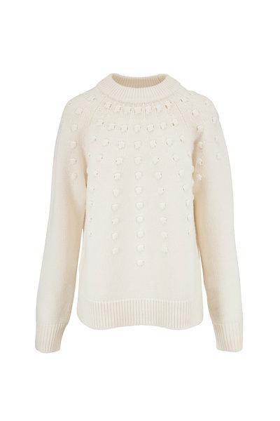 Lela Rose - White Dotted Knit Crewneck Sweater