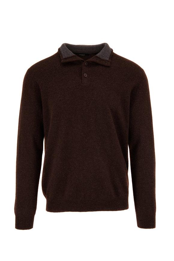 Kinross Espresso Cashmere Quarter-Button Sweater