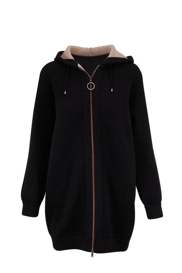 Brunello Cucinelli Black Cashmere Zip-Up Sweater