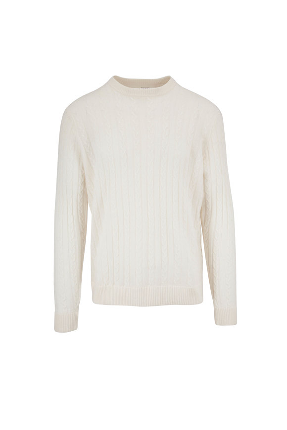 Raffi  Ivory Cable Knit Crewneck Sweater