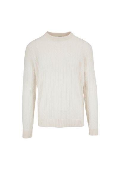 Raffi - Ivory Cable Knit Crewneck Sweater