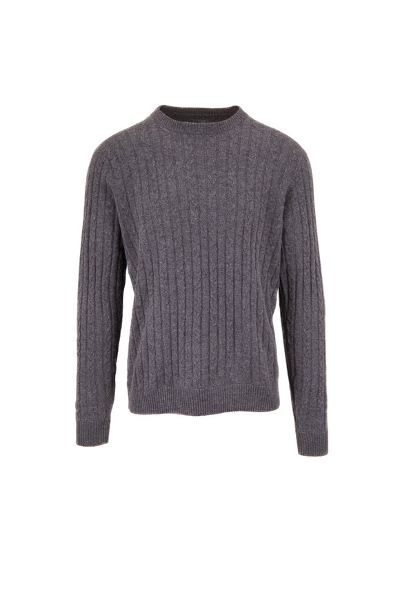 Raffi  Charcoal Gray Cashmere Cable Knit Sweater