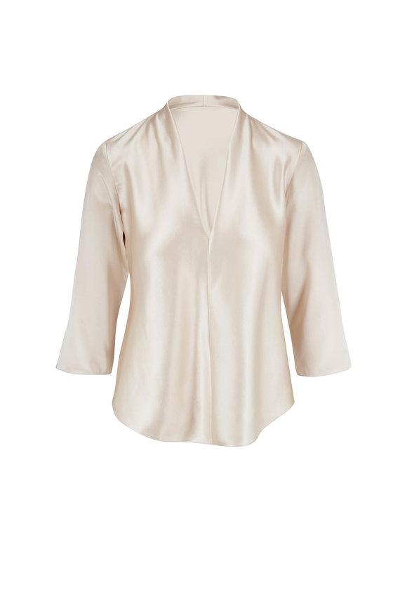 Peter Cohen Tucks Champagne Silk T-Shirt