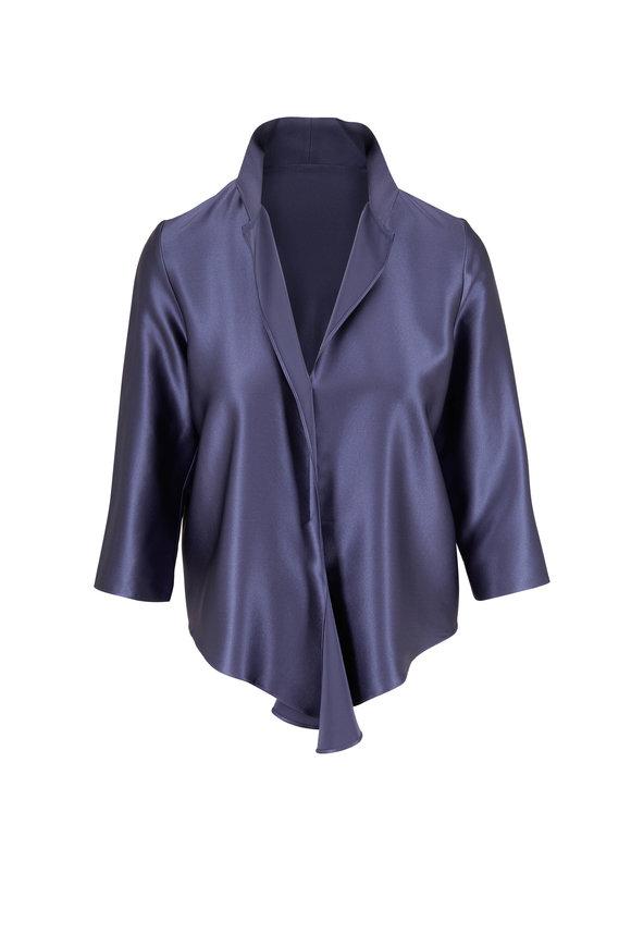 Peter Cohen Frolic Denim Blue Silk Tie-Front Top