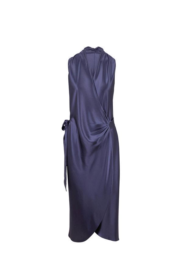 Peter Cohen Nikki Denim Blue Silk Sleeveless Dress
