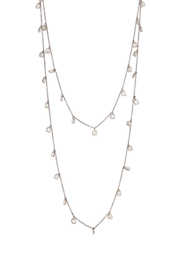 Loriann Sterling Silver Crystal Dangle Chain Necklace