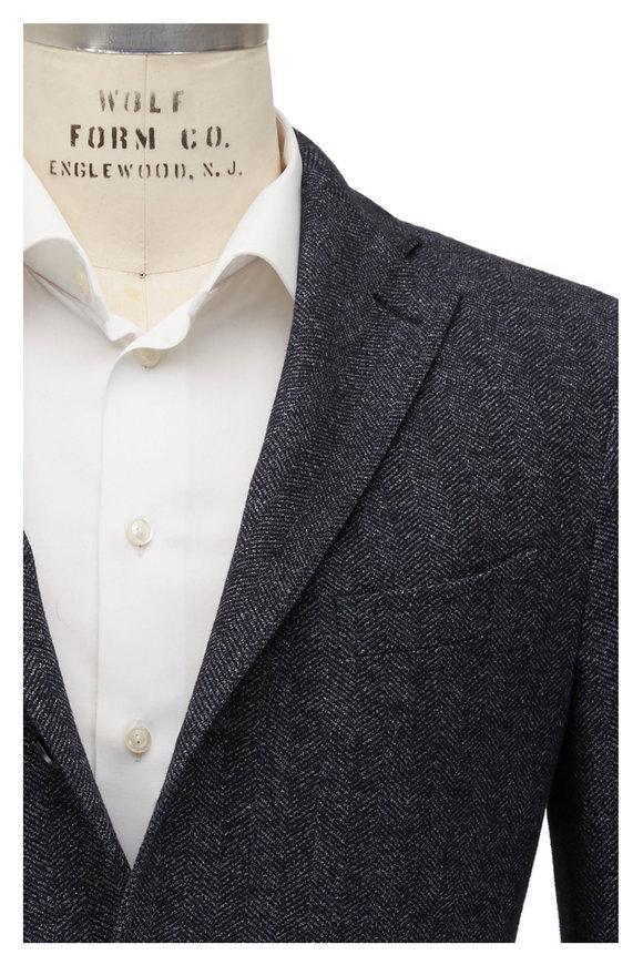 Boglioli Charcoal Herringbone Wool Sportcoat