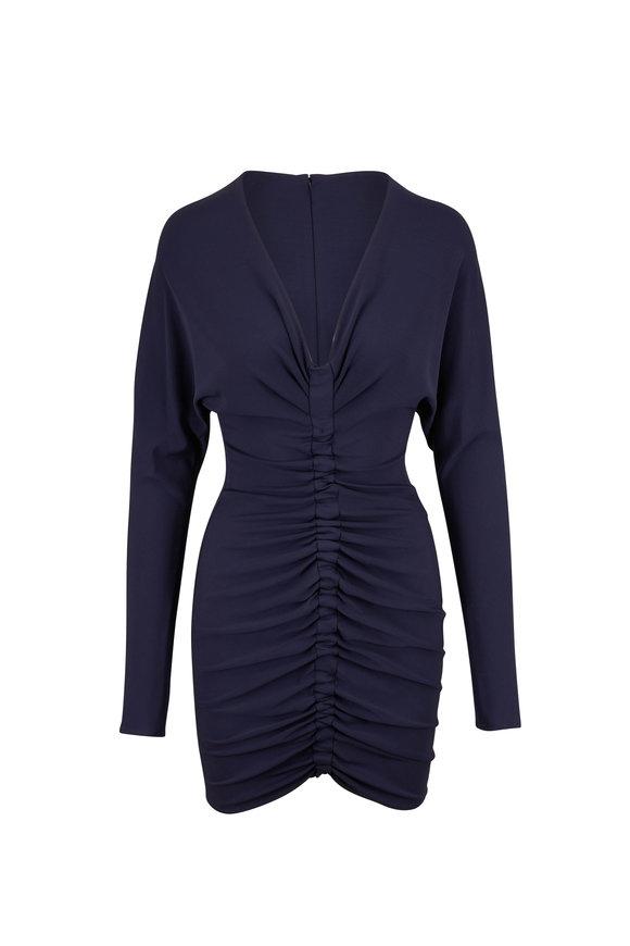 Cushnie Navy Blue Ruched Body-Con Mini Dress