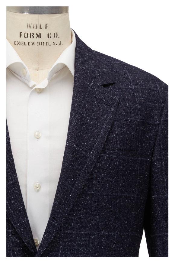 Brunello Cucinelli Navy Blue Donegal Windowpane Suit