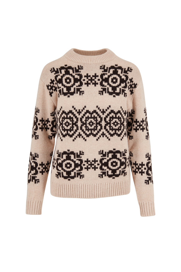 Eric Bompard Nougat & Ebony Norwegian Snowflake Sweater