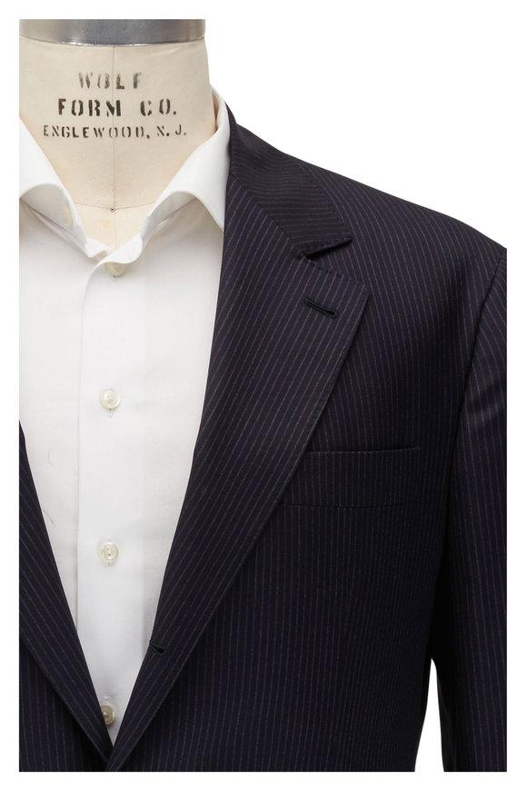Brunello Cucinelli Navy Blue Chalk Striped Wool Suit