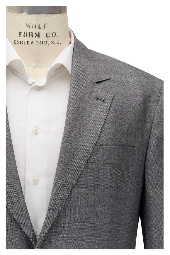Brunello Cucinelli Grey Plaid Wool Suit