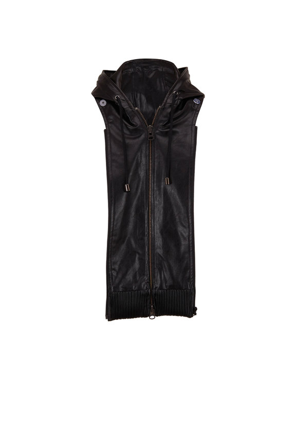 Veronica Beard Black Leather Hooded Dickey