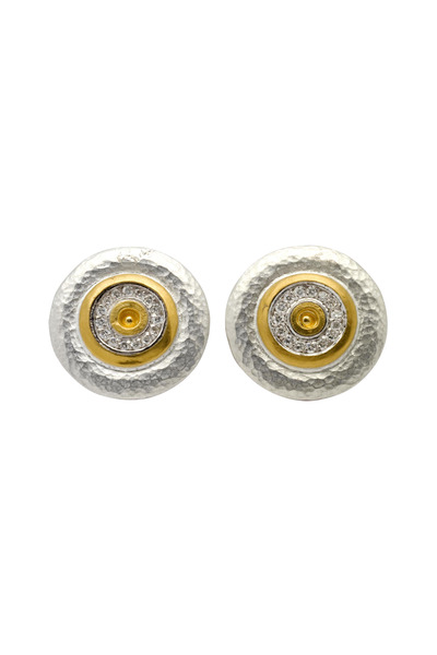 Gurhan - Yellow Gold Diamond Inner Circle Disc Earrings