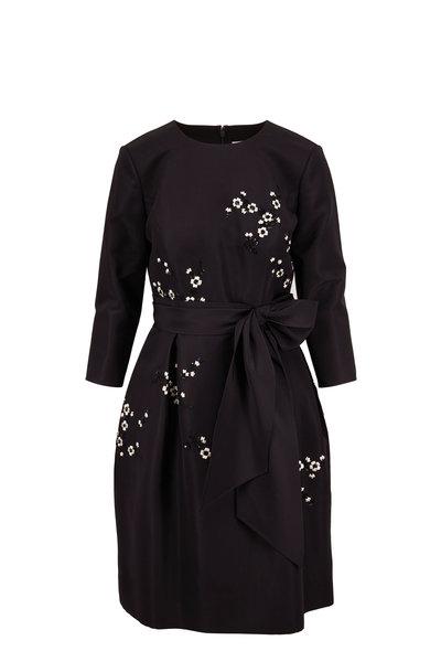 Carolina Herrera - Black Three-Quarter Sleeve Emellished Mini Dress