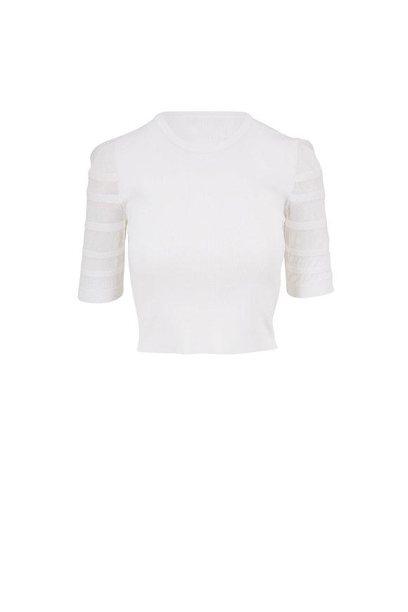 Cushnie Cream Knit Three-Quarter Sleeve Top