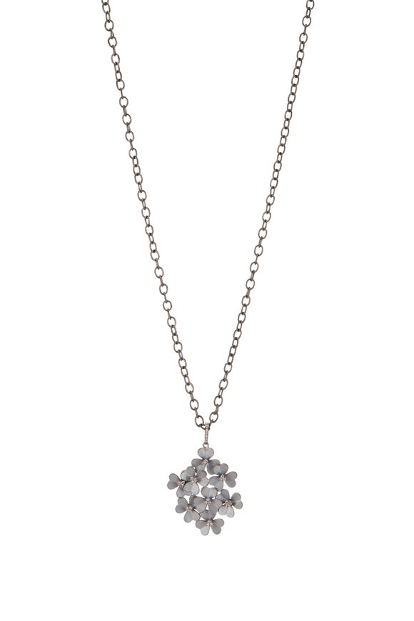 Loriann Sterling Silver Floral Cluster Necklace
