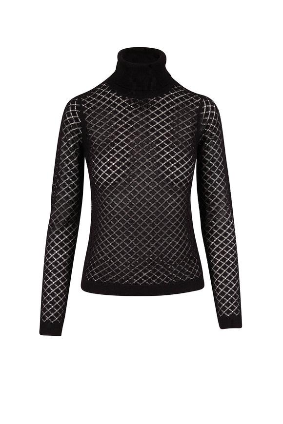 L'Agence Black Sheer Knit Turtleneck Sweater