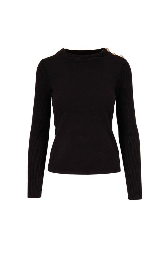 L'Agence Erica Black Button Shoulder Sweater