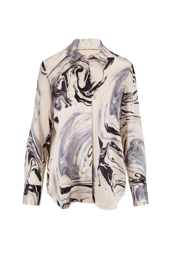 Lafayette 148 New York Scottie Black & White Silk Print Blouse