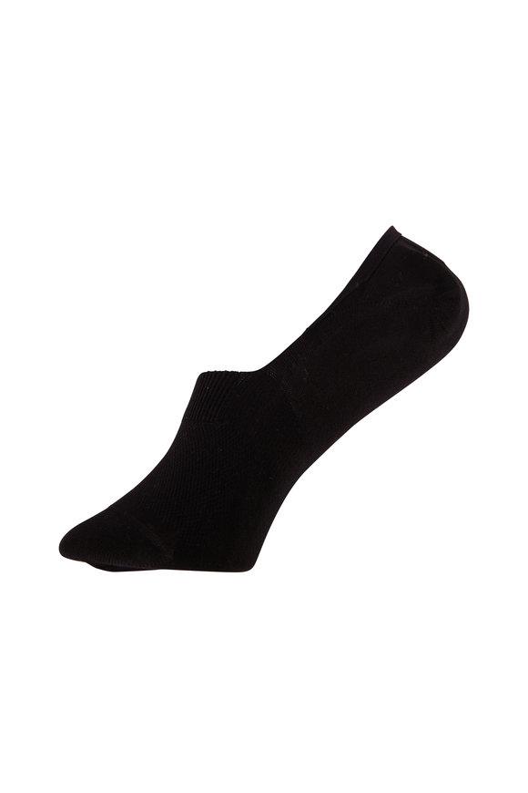 Pantherella  Rio Black Egyptian Cotton No-Show Socks