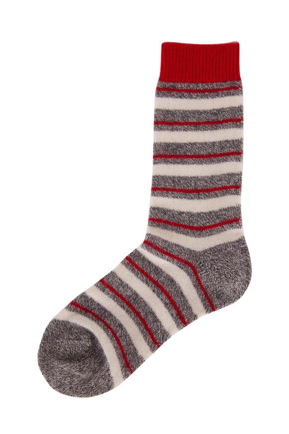 Pantherella  Sally Charcoal Bold Stripe Cashmere Socks