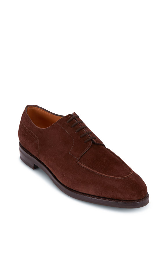 John Lobb Harlyn Dark Brown Suede Lace Up Derby Shoe