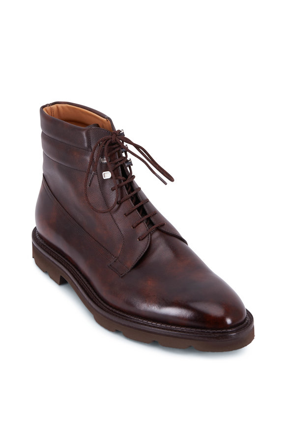 John Lobb Alder Dark Brown Leather Light Weight Sole Boot