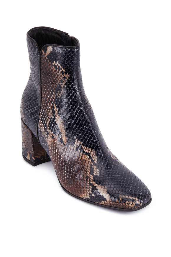 Aquatalia Denisse Navy & Brown Snake Print Bootie, 70mm