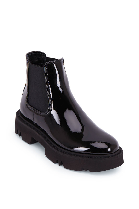 Aquatalia Haylie Black Patent Lug Sole Boot