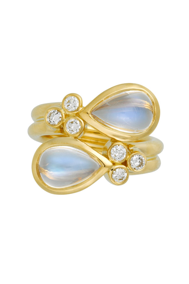 18K Yellow Gold Blue Moonstone Mummy Ring