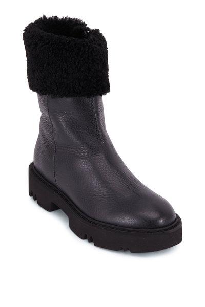Aquatalia - Heidy Black Leather & Shearling Bootie
