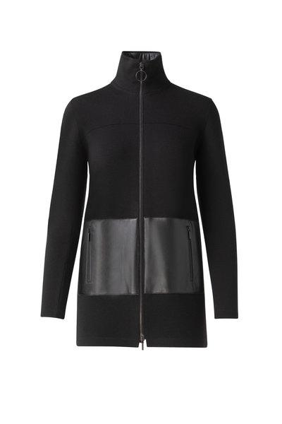 Akris Punto - Black Knit & Leather Detail Cardigan
