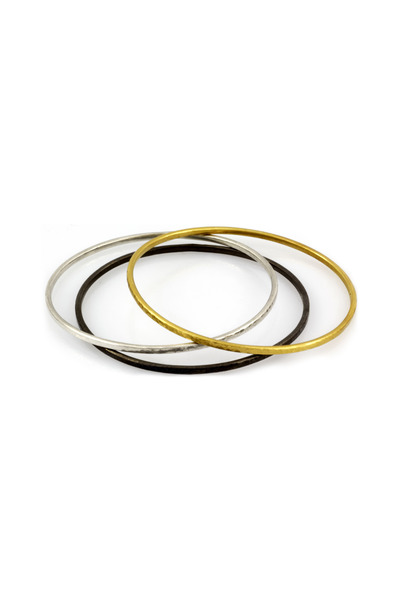 Gurhan - Gold, Dark Silver, White Silver Bangle Set
