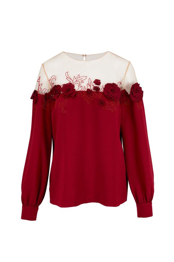 Oscar de la Renta Red Silk & Mesh Embroidered Floral Blouse