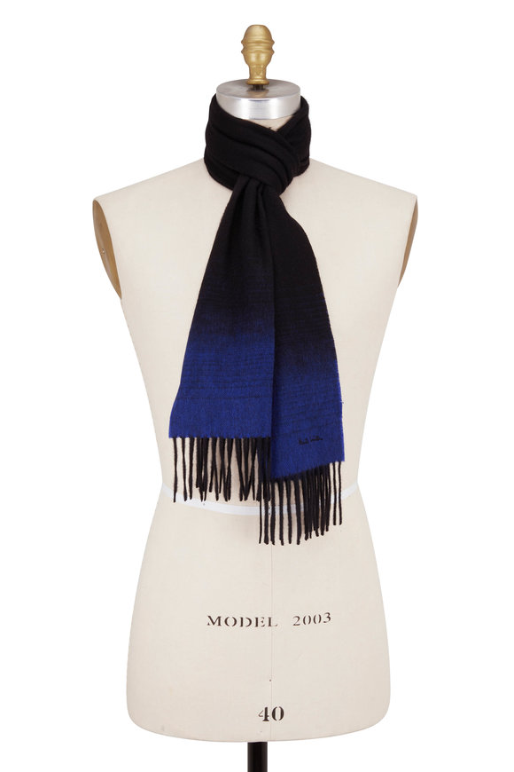 Paul Smith Black & Royal Blue Ombré Scarf