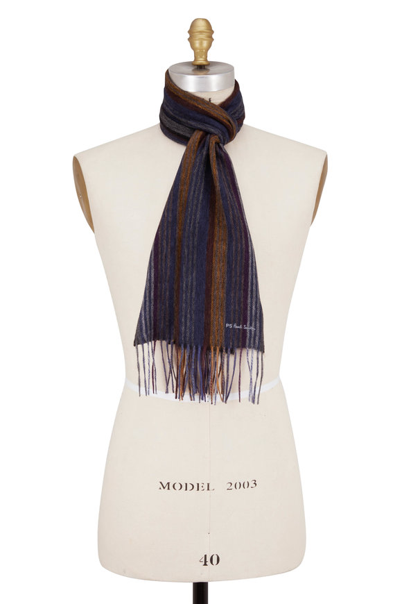 Paul Smith Grey Collage Stripe Scarf