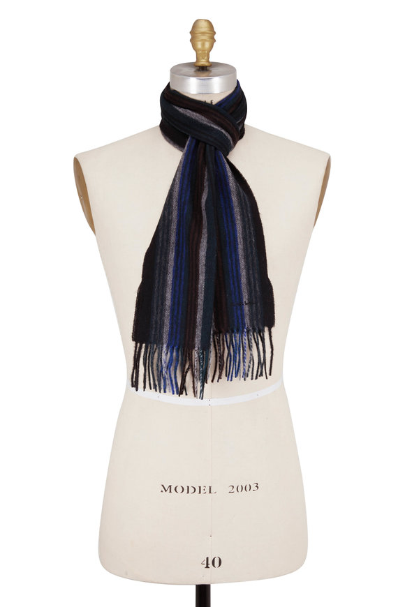 Paul Smith Dark Navy Collage Stripe Scarf