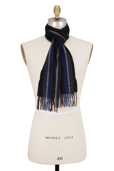 Paul Smith - Dark Navy Collage Stripe Scarf