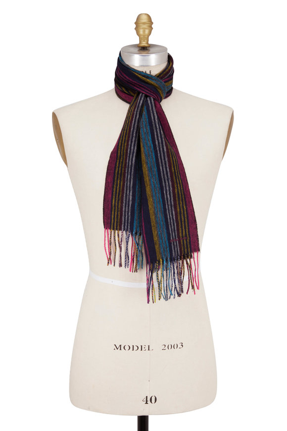 Paul Smith Navy Blue Collage Stripe Scarf