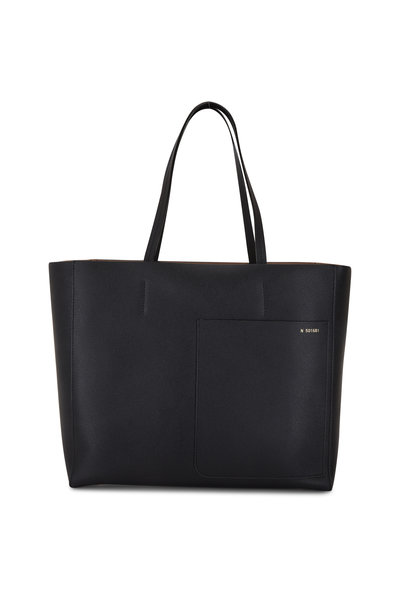 Valextra - Black Leather Small Shopping Tote
