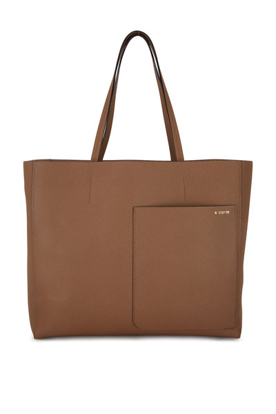 Valextra - Dark Taupe Leather Small Shopping Tote