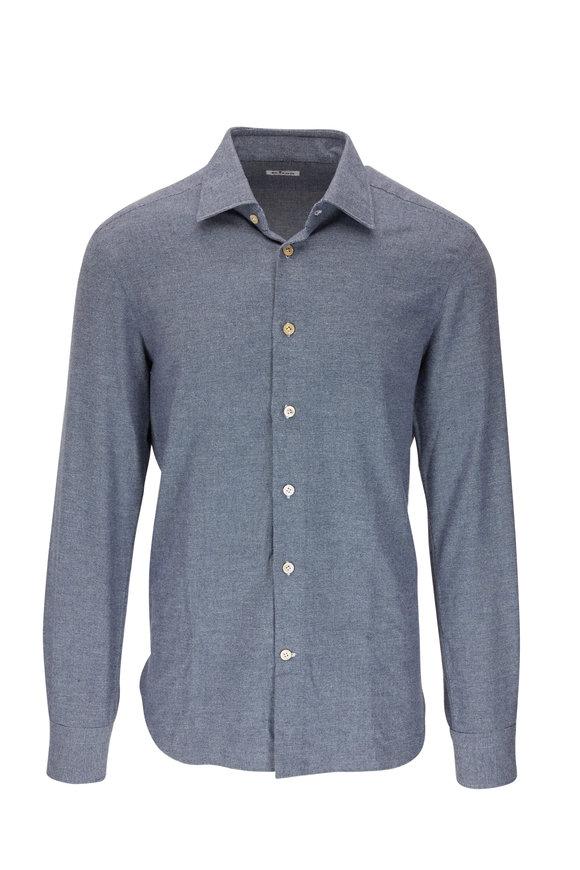Kiton Blue & Gray Brushed Mini Textured Sport Shirt