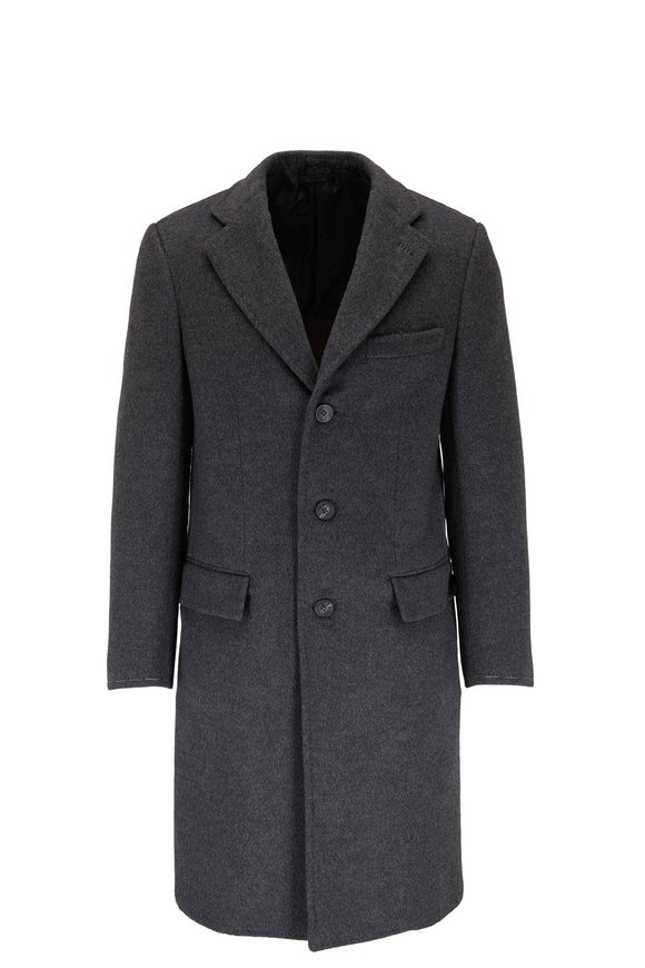 Brioni Charcoal Double-Faced Wool Top Coat
