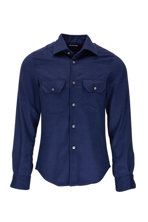 Kiton Solid Blue Cashmere & Silk Overshirt