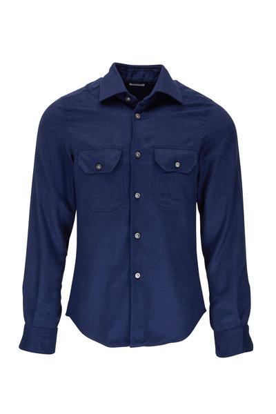 Kiton - Solid Blue Cashmere & Silk Overshirt