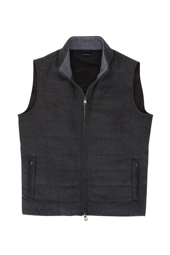 Peter Millar Excursionist Charcoal Grey Front Zip Vest