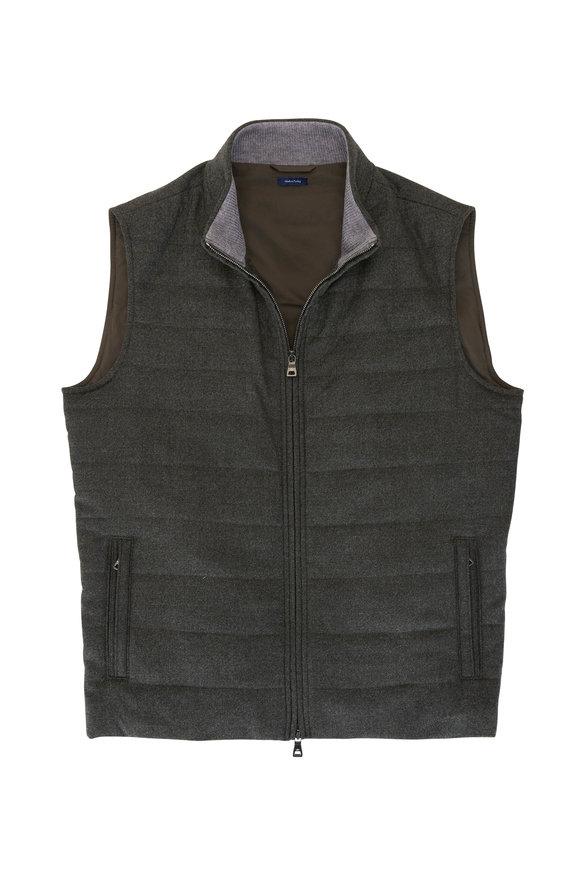 Peter Millar Excursionist Spruce Wool Front Zip Vest
