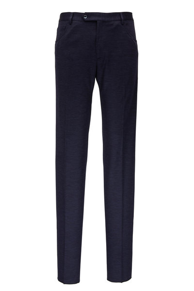 Zanella - Navy Blue Wool Knit Five Pocket Pant