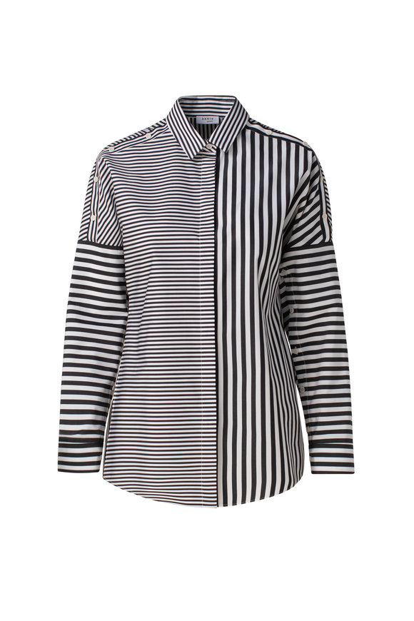 Akris Punto Black & White Stripe Organic Cotton Poplin Shirt